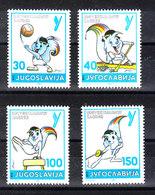 Jugoslavia   - 1986. Universiadi '87 : Volley, Kajak, Atletica, Scherma.  Volleyball, Kayak, Athletics, Fencing. MNH - Pallavolo