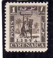 LIBIA LIBYA 1951 REGNO INDIPENDENTE EMISSIONE PER LA CIRENAICA CYRENAICA 1m MNH - Libia
