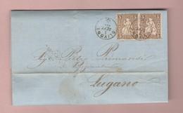 Heimat TI Tessin Olivone 1.09.1868 Fingerhutstempal Auf Senkr. Paar 5Rp Sitzende Brief Nach Lugano Transit Biasca - 1862-1881 Helvetia Seduta (dentellati)