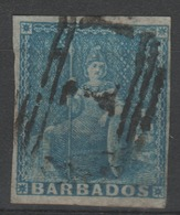 BARBADE - 1857 - Obl. - Y&T 5 - Papier Blanc - Valeur 90€ - Barbados (...-1966)