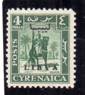 LIBIA LIBYA 1951 REGNO INDIPENDENTE EMISSIONE PER LA CIRENAICA CYRENAICA 4m MNH FIRMATO SIGNED - Libia
