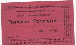 B74-2 Biglietto PIOMBINO-PORTOFERRAIO - 1965-timbre 5 Lires- VOIR 2 SCANS- 2 Billets ITALIE - Europa