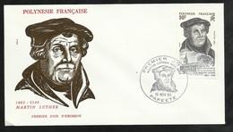 Polynésie Lettre Illustrée  Premier Jour Papeete Le 10/11/1983 Le  N° 208 Martin Luther     TB - Theologen