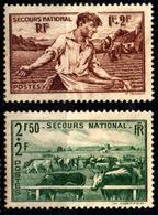 France-YT467+YT469 (1940) Neuf (*) Sans Gomme - Au Profit Du Secours National : Semailles & Elevage - France