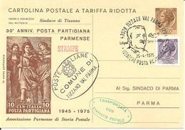 ITALIA - 1975 TIZZANO VAL PARMA (PR) G.VIGNALI Ideatore Posta Partigiana Su CP Con Timbro In Franchigia E Timbro Verde - WO2