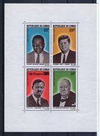 Congo. Bloc Feuillet. Bokanda, Kennedy, Lumunba Et Churchill - Congo - Brazzaville