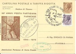 ITALIA - 1975 TIZZANO VAL PARMA (PR) G.VIGNALI Ideatore Posta Partigiana Su CP Con Timbro In Franchigia E Timbro Verde - Beroemde Personen
