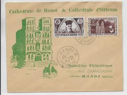 "INDOCHINE - 1944 - ENVELOPPE ILLUSTREE ""CATHEDRALE De HANOI Et D'ORLEANS"" - Indochine (1889-1945)"
