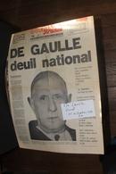DE GAULLE DEUIL 11 NOVEMBRE 1970 - Vieux Papiers