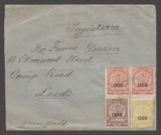 PARAGUAY. 1909 (10 April). Asuncion - UK / Leeds (7 May). Multifkd Env 75c Rate 1908 Ovptd Issue Cds. Fine. - Paraguay