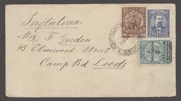 PARAGUAY. 1908 (2 Oct). Asuncion - UK / Leeds (1 Nov). 10c Blue Stat Env 2 Adtl Stamps Incl Habilitado. Fine And Scarce. - Paraguay