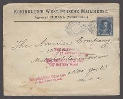 VENEZUELA. 1911 (25 Dec). Cumana - USA / NY. Dutch Suriname Paquebot Cancelling Fkd Env. 25c Blue Mail Dutch West India - Venezuela