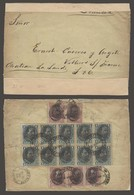 PERU. 1895 (30 Abril). Lima - France (30 May). Reverse Multifkd Ovptd Issue. 20c Rate Incl 1c Block Of Ten. - Peru