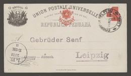 PERU - Stationery. 1894 (19 Nov). Lima - Germany (23 Dec). 4c Red Stat Card. Fine Used. - Perù