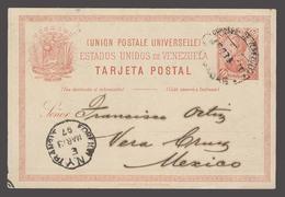 VENEZUELA. 1897 (2 March). Caracas - Mexico / Veracruz. Via NY (13 March). 10c Red Stat Card. Better Dest. - Venezuela