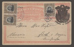 SALVADOR, EL. 1912 (20 Junio). SS - Germany. Official Shield Ovptd Stat Card + 3 Adtls 2c Stamps Cds. V Scarce Overseas - El Salvador