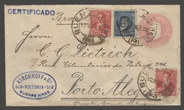 Argentina - Stationery. 1899 (12 May). BA - Brazil / Porto Alegre (27 May). Reg Multifkd Env Mixed Issues 5c Rose Stat E - Argentina