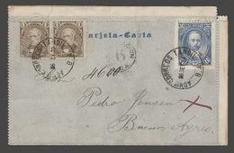Argentina - Stationery. 1889 (25 Sept). Tandil - BA. Internal 2c Blue Stat Lettersheet Written In Svenska + 2 Adtls. 4c - Argentina