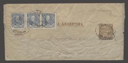 Argentina - Stationery. 1892 (9 April). Uruguay - Paysandu. 1/2c Brown Stat Wrapper + 3x 1/2c Blue Adtl Strip Of 3 Cance - Argentine