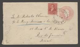 Argentina - Stationery. 1898 (19 Oct). Villa Casilda SF - Brazil / RJ (25 Oct). 5c Rose Stat Env Adtl. VF. - Argentina