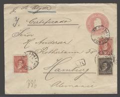 Argentina - Stationery. 1897 (6 Aug). BA  - Germany (30 Aug). Reg  AR 5c Rose Stat Env + 3 Adtls, Mixed Usages Per Clyde - Argentina