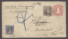 Argentina - Stationery. 1894. Rosario - Hungary (24 Oct). Reg 8c Red Stat Env + 2 Adtls Further Fkg Missing Transit, Oth - Argentinien