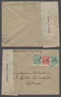 BC - N.W. Pacific Isl.. 1916 (14 Aug). Madang - Netherlands (28 Nov 16). Multifkd Env 2d Rate + Censor Label. Incl Repor - Unclassified
