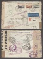 SWITZERLAND. 1943 (26 July). Ostermundigen - USA / NY (7-8 Sept). Air Multifkd Env Nazi British IC Censored Caribbe Reto - Unclassified