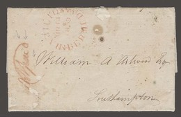 """BC - Bermuda. 1853 (8 March). St Georges - Southampton. EL With Full Text Depart Red Cds Hamilton Manuscript In Red """" NO - Unclassified"""