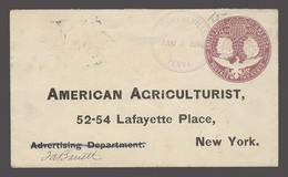 USA - Stationery. 1894 (9 Jan). Schwenkvile / PA - NY. 3cts Colon Issue Stat Env. Fine Cancel. - Unclassified