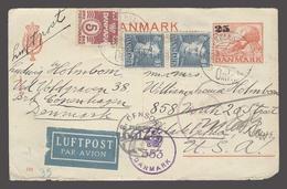 DENMARK. 1945 (12 June). Copenhagen - USA. 25 Ovptd Red Stat Card Adtl Postage Air Fkd Dual Censored 1.10 Ore Rate. Scar - Danemark