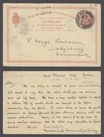DENMARK. 1912 (1 Oct). Reply Half Stat 10ore Red Card. London- Saxkjobing. Proper Usage V Scarce. - Danemark