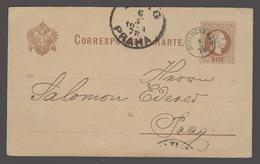 CZECHOSLOVAKIA. 1878 (6 May). Schluckenan - Prague (6 May). 2kr Brown Stat Card Small Depart Cds. VF. - Czechoslovakia