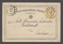 SLOVENIA. 1873 (19 April). Seebach / Veldes - Laibach (21 April). 2kr Yellow Early Stat Card. VF Cds. - Slovénie