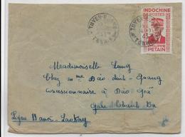 INDOCHINE - 1943 - PETAIN SEUL Sur ENVELOPPE De TUYEN  QUANG => GARE De THANH BA - LIGNE FERROVIAIRE HANOI à LAOKAY ! - Indochine (1889-1945)