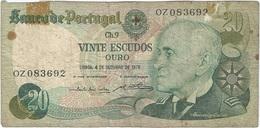 Portugal 20 Escudos 4-10-1978 Pk 176 B.4 Firmas Emílio Rui Da Veiga Peixoto Vilar Y Abel António Pinto Dos Reis Ref 6 - Portugal