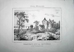CHATEAU DE LA RIVIERE (près Fronsac) - DESSIN De R. MAUGE - LITHOGRAPHIE Par LEGE à BORDEAUX DEBUT 19e Siècle - Lithographien