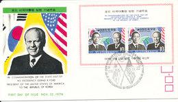 Korea South FDC 22-11-1974 Minisheet President Of US Gerald R. Ford Visit The Republic Of Korea - Corée Du Sud