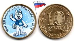 Russie - 10 Roubles 2018 (Mascot World Winter Universiade 2019 In Krasnoyarsk - Color) - Russia