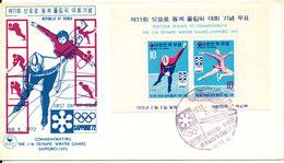 Korea South FDC 3-2-1972 Minisheet Olympic Winter Games Sapporo 1972 - Corea Del Sud