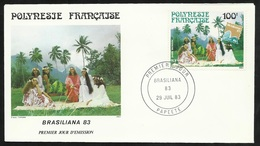 Polynésie Lettres Illustrée  Premier Jour Papeete Le 29/07/1983 Le P.A. N°176  Exposition Philatélique Brasiliana 83  TB - Esposizioni Filateliche