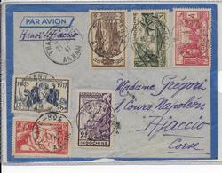 INDOCHINE - 1937 - SERIE EXPO 37 COMPLETE Sur ENVELOPPE Par AVION De THANN HOA (ANNAM) => AJACCIO (CORSE) - Indochine (1889-1945)