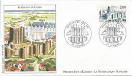 Premier Jour La Numismatique Française Chateau De  Loches 14 6 1986 - Taxes