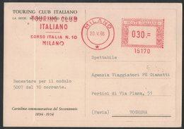 AP88   Italia 1966  Red Meter, EMA Freistempel Touring Club Italiano - Su Cartolina Commemoratica TCI - Affrancature Meccaniche Rosse (EMA)