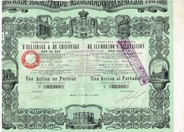 Titre Ancien - Compagnie Madrilène D'Eclairage Et De Chauffage Par Le Gaz - Titre De 1880 - N°32398 Déco - Electricité & Gaz