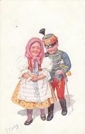 Karl Feiertag - Boy In Uniform W Girlfriend In Traditional Folk DRess - Feiertag, Karl