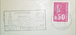 DOUBS Enveloppe Commerciale. Flamme Haut Doubs Pontarlier été Hiver 1973 - Marcophilie (Lettres)