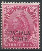 Patiala State(India). 1899-1902 QV. 3p MH. SG 32 - Patiala