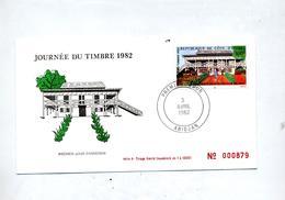 Lettre Fdc 1982 Journee Du Timbre - Côte D'Ivoire (1960-...)