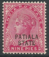 Patiala State(India). 1891-96 QV. 9p MH. SG 14 - Patiala